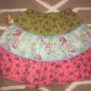 Mulberribush patchwork floral tiered twirly skirt